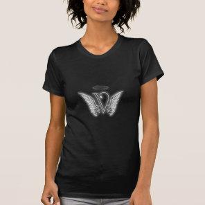 Angel Alphabet V Initial Letter Wings Halo T-Shirt