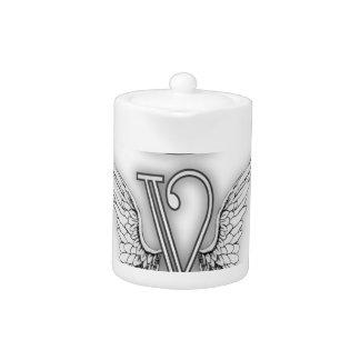 Angel Alphabet V Initial Letter Wings Halo Teapot