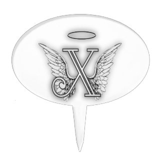 Angel Alphabet X Initial Letter Wings Halo Cake Topper