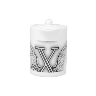 Angel Alphabet X Initial Letter Wings Halo Teapot