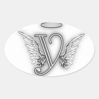 Angel Alphabet Y Initial Letter Wings Halo Oval Sticker