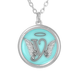 Angel Alphabet Y Initial Letter Wings Halo Round Pendant Necklace
