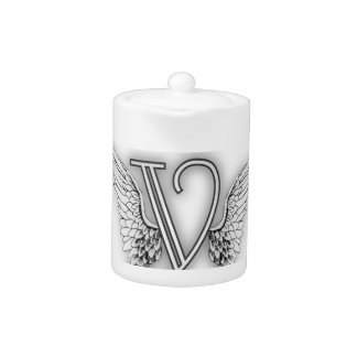 Angel Alphabet Y Initial Letter Wings Halo Teapot