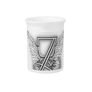 Angel Alphabet Z Initial Letter Wings Halo Beverage Pitcher