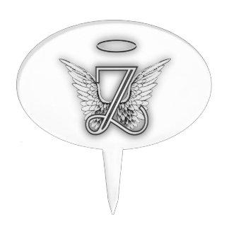 Angel Alphabet Z Initial Letter Wings Halo Cake Topper