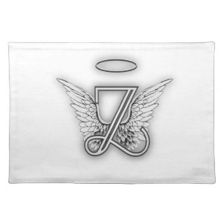 Angel Alphabet Z Initial Letter Wings Halo Placemat