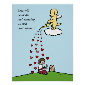 Ángel amarillo de Labrador con el dibujo animado d Póster