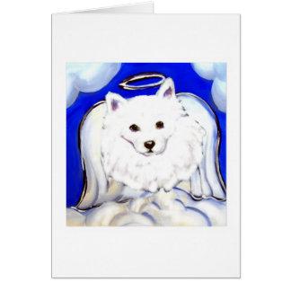 Ángel americano del perro esquimal tarjeta de felicitación
