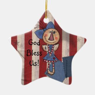 Ángel americano primitivo adorno navideño de cerámica en forma de estrella