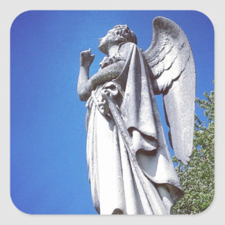 Angel and a bright blue sky square sticker