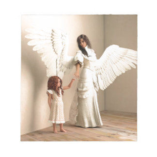 Angel and a kid memo notepads