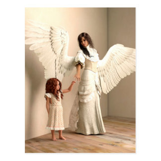 Angel and a kid postcard