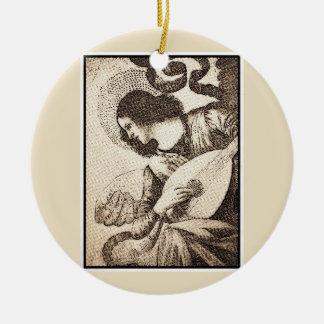 Angel and alaúde ceramic ornament