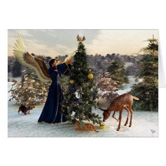 Angel and Animals Christmas Card