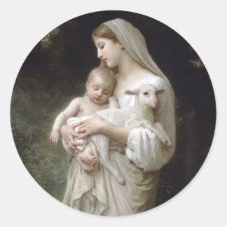 Angel and Baby Jesus Classic Round Sticker