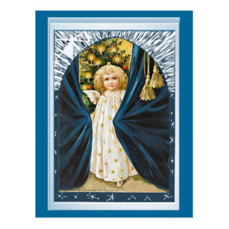 Angel and blue curtains postcard