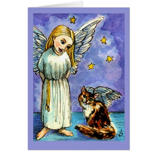 Angel and cat condolence card
