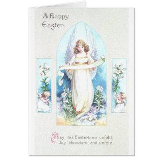 Angel and Cherubs Church Window Vintage Easter Greeting Card
