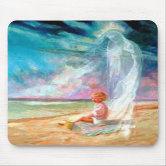 Angel and Child on Beach Mousepad