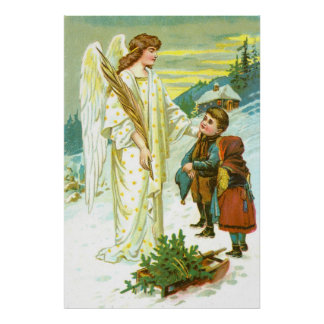 Angel and children at Christmas Poster