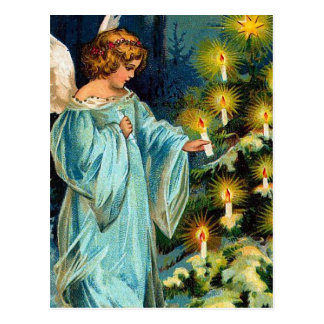 """Angel and Christmas Tree"" Vintage Postcard"