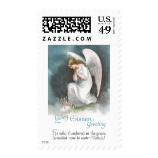 Angel and Crocus Flowers Vintage Easter Stamp