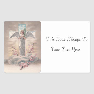 Angel and Cross Easter Photo Name Plate Rectangular Sticker