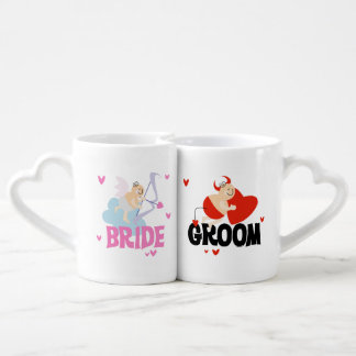 Angel and Devil Bride and Groom Lovers Mugs