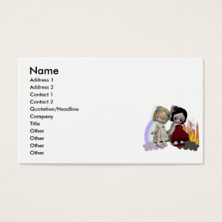angel and devil cutie girls business card