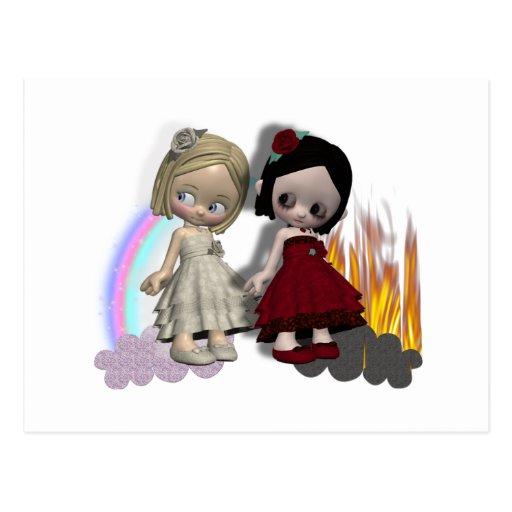 angel and devil cutie girls postcard