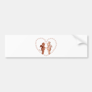 Angel and devil holding hands bumper sticker