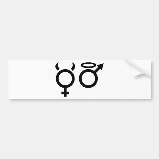 angel and devil icon bumper sticker