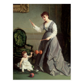`Angel and Devil' or `Playing Diabolo Postcard