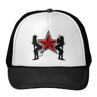 angel and devil trucker hat