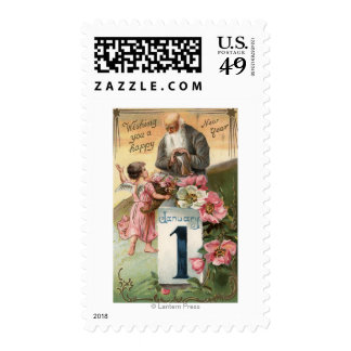 Angel and Father Time # 2 Postage Stamps