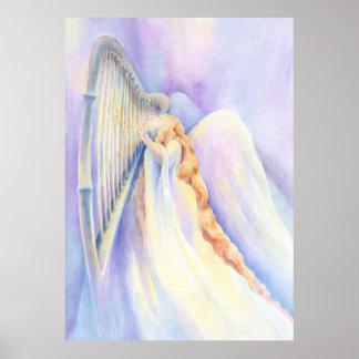 Angel and Harp Print