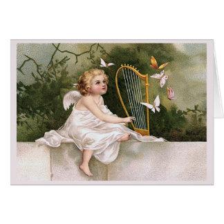 Angel and Harp Vintage Illustration Greeting Card