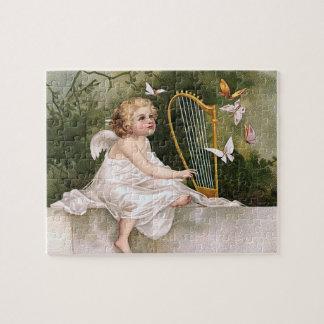 Angel and Harp Vintage Illustration Jigsaw Puzzle