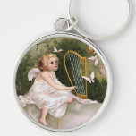 Angel and Harp Vintage Illustration Silver-Colored Round Keychain