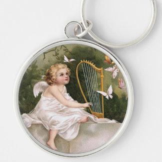 Angel and Harp Vintage Illustration Keychain