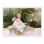 Angel and Harp Vintage Illustration Postcard