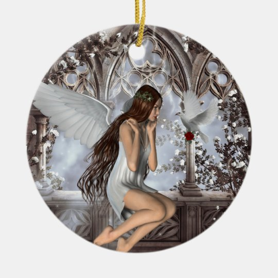 Angel and Her Dove Ceramic Ornament