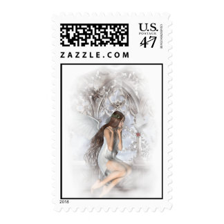 Angel and Her Dove Vignette Postage Stamp