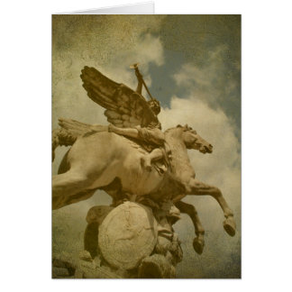 Angel and Horse Statue Card