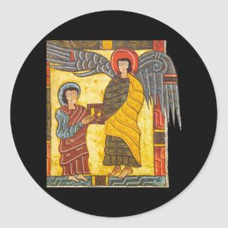 Angel and John Apocolypse 2 Illuminated Manuscript Classic Round Sticker