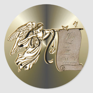 Angel and Joy to the World Scroll Classic Round Sticker