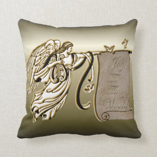 Angel and Joy to the World Scroll Throw Pillow