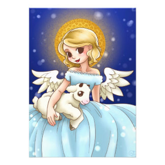 Angel and Lamb Personalized Invitation