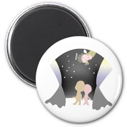 angel and lovers 2 inch round magnet