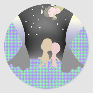 angel and lovers classic round sticker